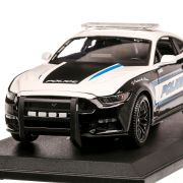 Ford Mustang GT Police USA 2015, macheta auto, scara 1:18, alb cu negru si albastru, Maisto