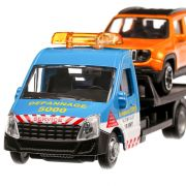 Iveco Daily platforma cu Jeep Renegade, macheta  auto, scara 1:43, albastru, Bburago