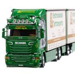 Scania R-Series Highline 2019, macheta camion cu remorca, scara 1:50, alb cu verde, Tekno
