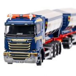 Scania R-Streamline 2009, macheta camion cu 3 axe si remorca cu 2 axe, scara 1:50, alb cu albastru, Tekno