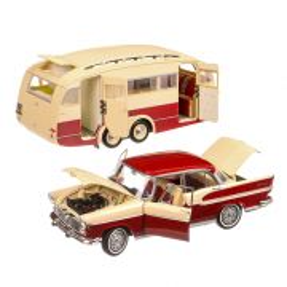 Simca Chambord cu rulota Henon 1958, macheta  auto, scara 1:18, crem cu rosu, Norev
