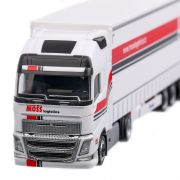Volvo FH Gl XL Lowliner-Moss Logistics 2012, macheta camion cu semiremorca, scara 1:87, alb cu rosu, Herpa