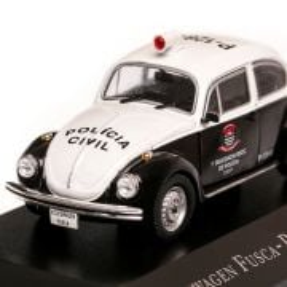 Volkswagen Fusca Policia Civil Sao Paulo1985, macheta auto, scara 1:43, alb cu negru, Magazine Models