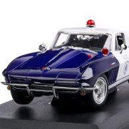 Chevrolet Corvette Police 1965, macheta autospeciala scara 1:18, bleu, Maisto