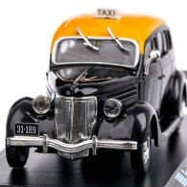 Ford V8 Taxi Montevideo 1950, macheta auto, scara 1:43, negru cu galben, Magazine Models