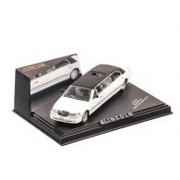 Lincoln limousine 2000, macheta auto scara 1:43, alb cu negru, window box, Vitesse Sun Star