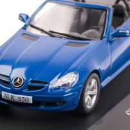 Mercedes-Benz SLK 350 CONVERTIBLE (R171) 2004, macheta auto scara 1:43, albastru, carcasa plexic, Magazine models