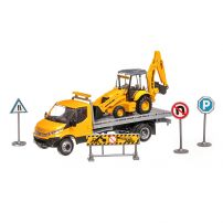 Iveco Daily platforma cu excavator New Holland B110C, scara 1:43, galben, New Ray