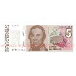 Monede si Bancnote de pe Glob Nr.8 - ARGENTINA - 5 australi argentinieni