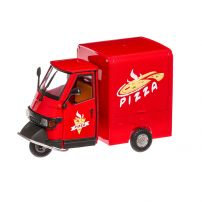 Piaggio Ape Cross 50 Pizza 2000, macheta scuter, scara 1:18, rosu, New Ray