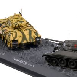 "Pz.Kpfw. V ""Panther"" Ausf. D vs T34/76 - The Battle of Kursk (USSR), 1943, machete vehicule militare, scara 1:72, Atlas"