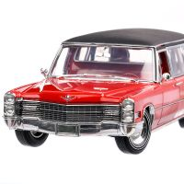 Cadillac S&S Limousine 1966, macheta auto, scara 1:18, rosu cu negru, GreenLight