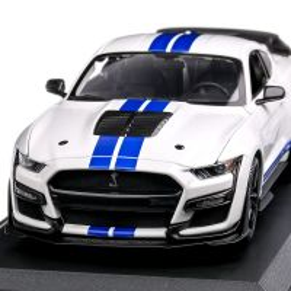 Ford Mustang Shelby GT500 2020, macheta auto scara 1:18, alb cu albastru, Maisto