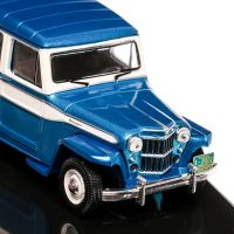 Jeep Willys station wagon 1960, macheta auto,  scara 1:43, alb cu bleu, IXO