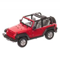 JEEP Wrangler Rubicon 2007, macheta auto, scara 1:24, rosu, window box, Welly