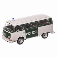 Volkswagen T2 Bus Type 2 Polizei 1979, macheta auto, scara 1:24, alb cu verde, window box, Welly